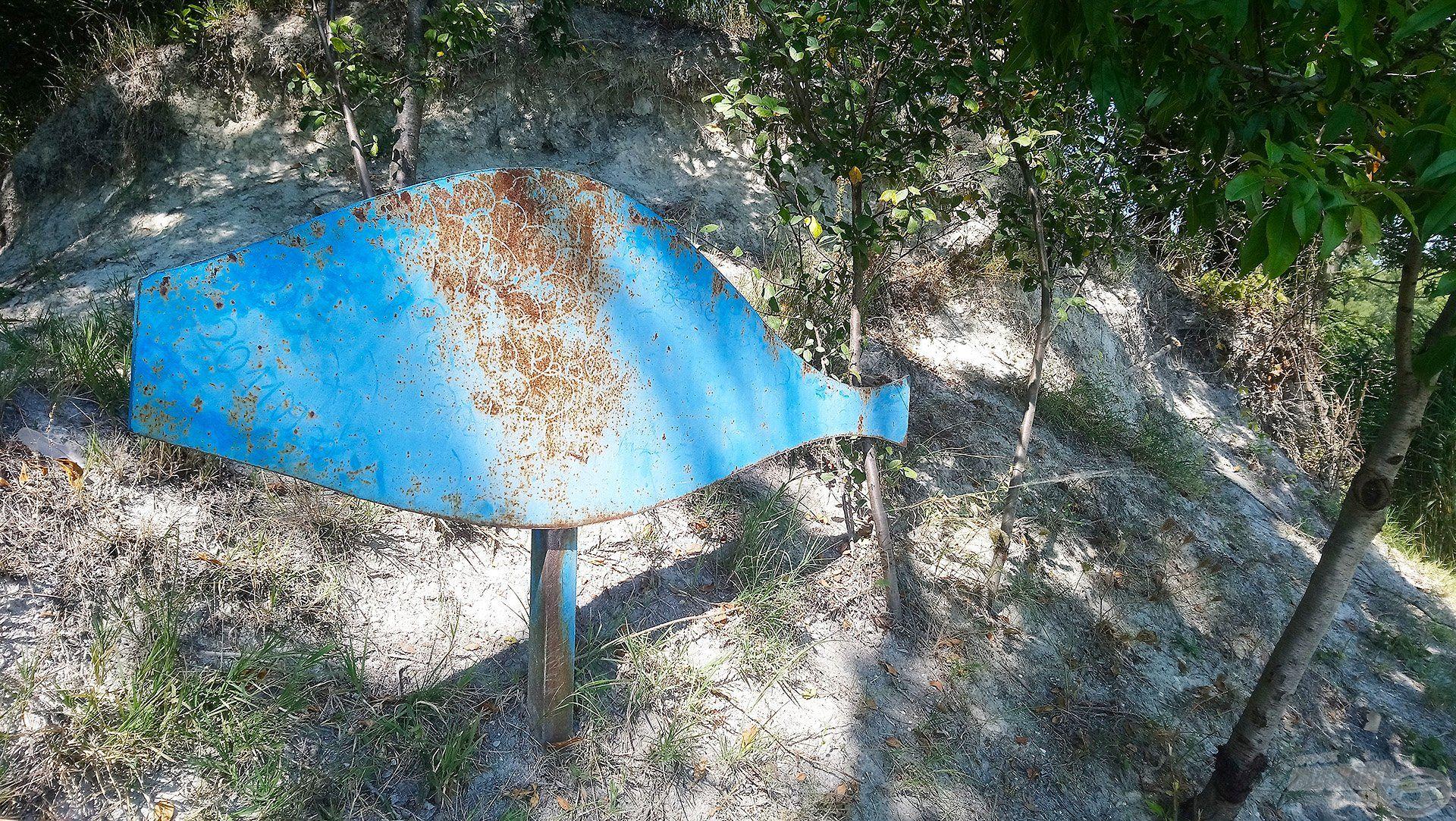 """Ez az állás a """"kékhal"""" nevet viseli, aminek oka nagyon egyszerű, hiszen egy régi, kékre festett, hal formájú emléktábla található itt a parton"""