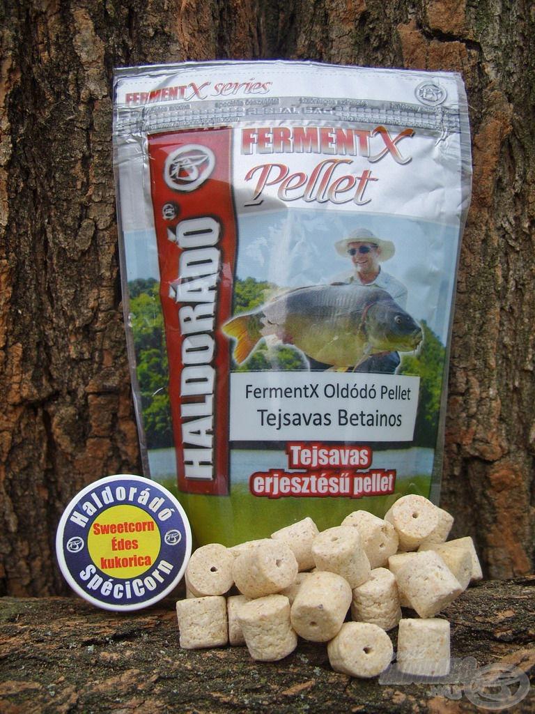 1. kombináció: Ezen a tavon leginkább bevált csalim a Tejsavas Betainos változat volt, amely teljes mértékben harmonizált a kukoricás etetőanyaggal. A pelleteket egy szem Haldorádó SpéciCorn gumikukoricával könnyítettem ki, ebben az esetben a Sweet Corn ízűvel