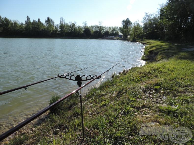Horgászhelyemet a tó déli partján, a délkeleti csücsökhöz közeli részen választottam ki