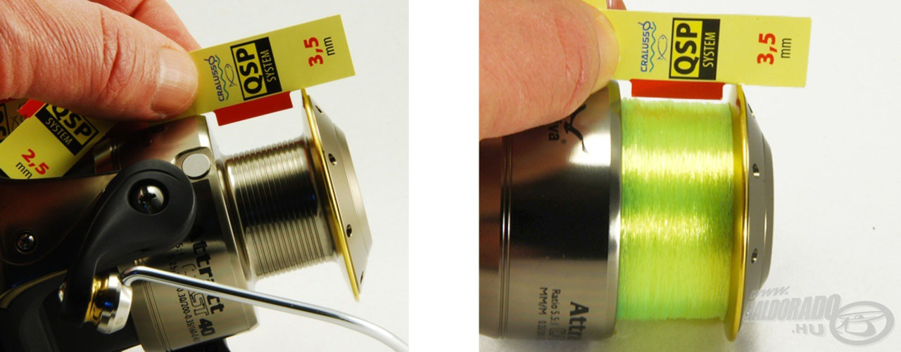 3. lépés: Válaszd ki a kapott értéknek megfelelő jelzőlapot és töltsd elő a dobot alátétzsinórral a mérőlapnak megfelelően