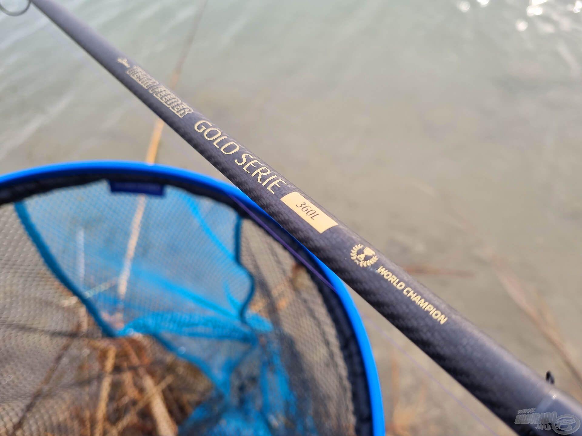 A rövidebb távolságra a by Döme TF Gold Serie 360L, míg a távolabbi horgászathoz a nagyobb, 390ML testvérét vetettem be