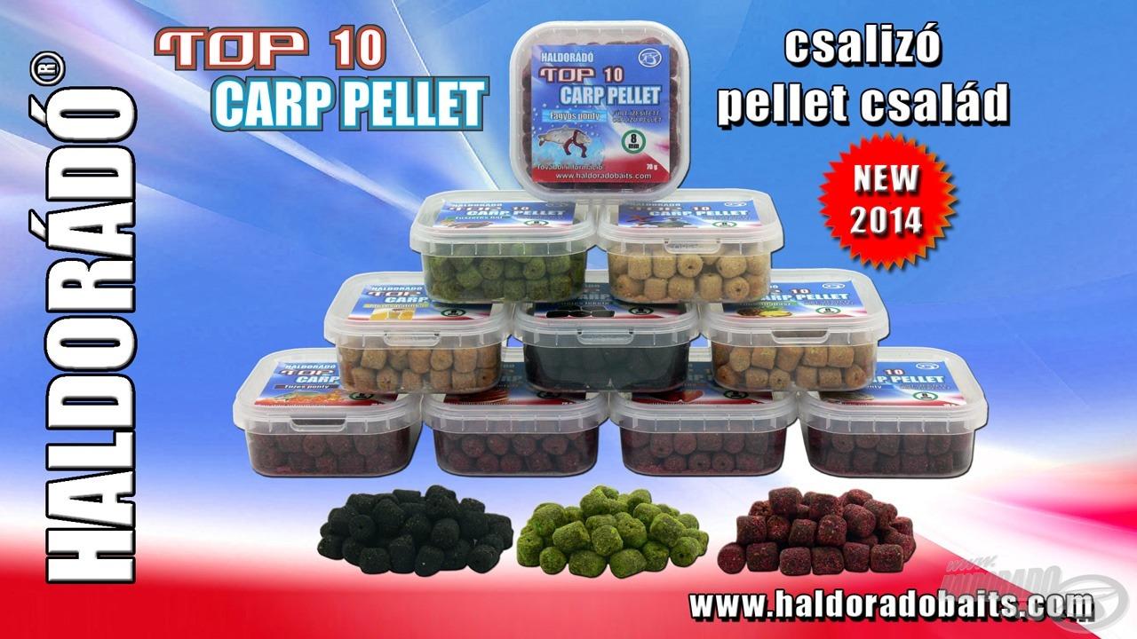 Új csalizó pellet család a Haldorádó kínálatában a TOP 10 Carp Pellet. Az elnevezés a tíz legnépszerűbb etetőanyagunk megnevezésére utal, a pelletek íze azok aromájával, ízvilágával azonos
