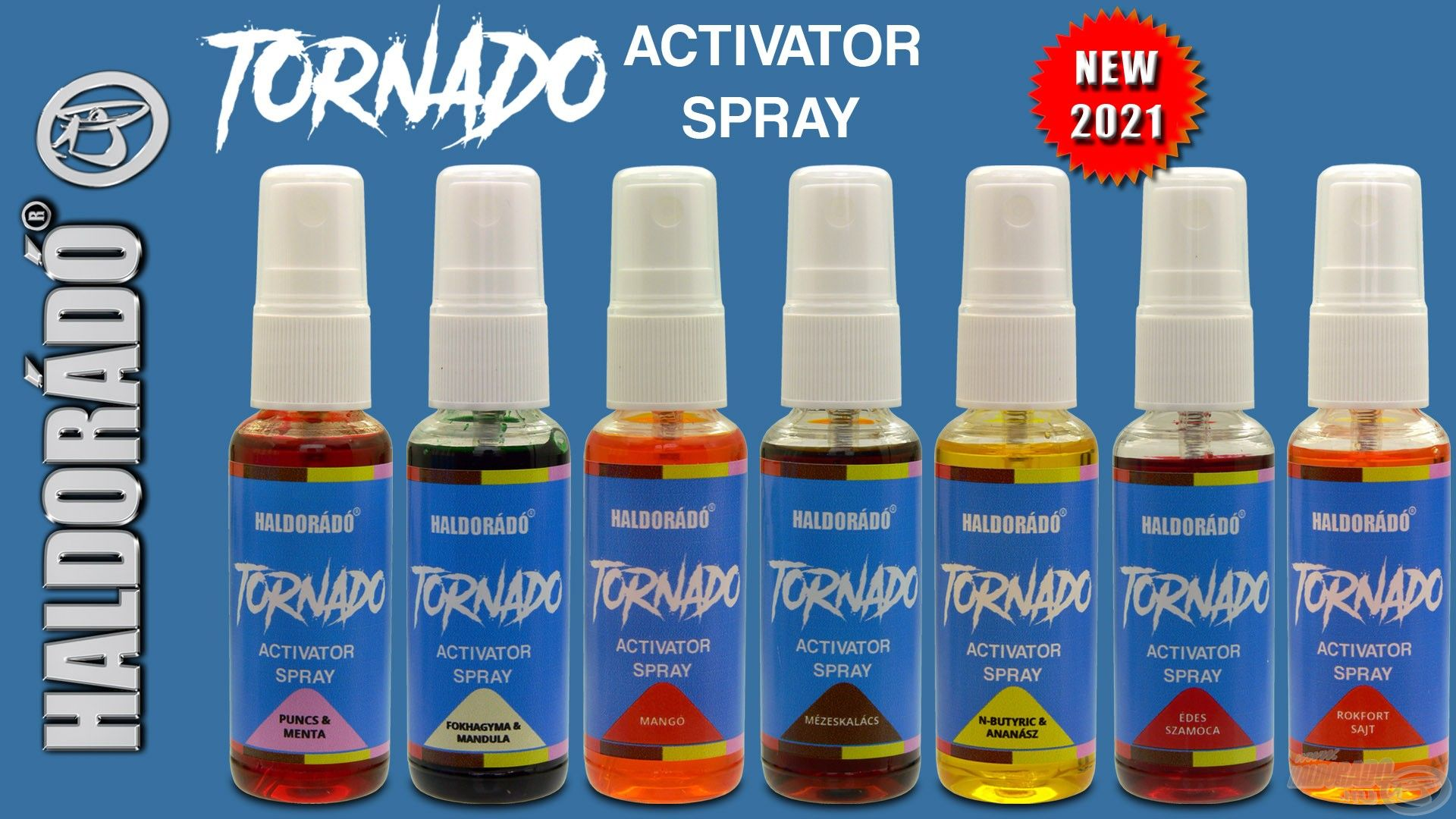 A Tornado csalikkal megegyező ízekben és színekben elérhető a Tornado Activator Spray, amellyel bármilyen csalit feltűnő és kívánatos falattá lehet varázsolni