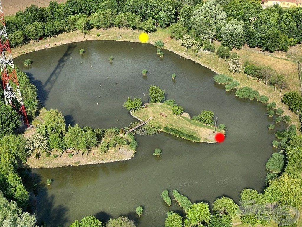 Piros ponttal jelöltem a pénteki horgászhelyemet, sárga ponttal pedig a szombatit és vasárnapit