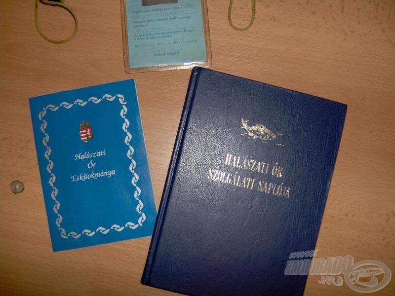 Halászati őr hivatalos okiratai: Szolgálati napló, esküokmány, fényképes igazolvány