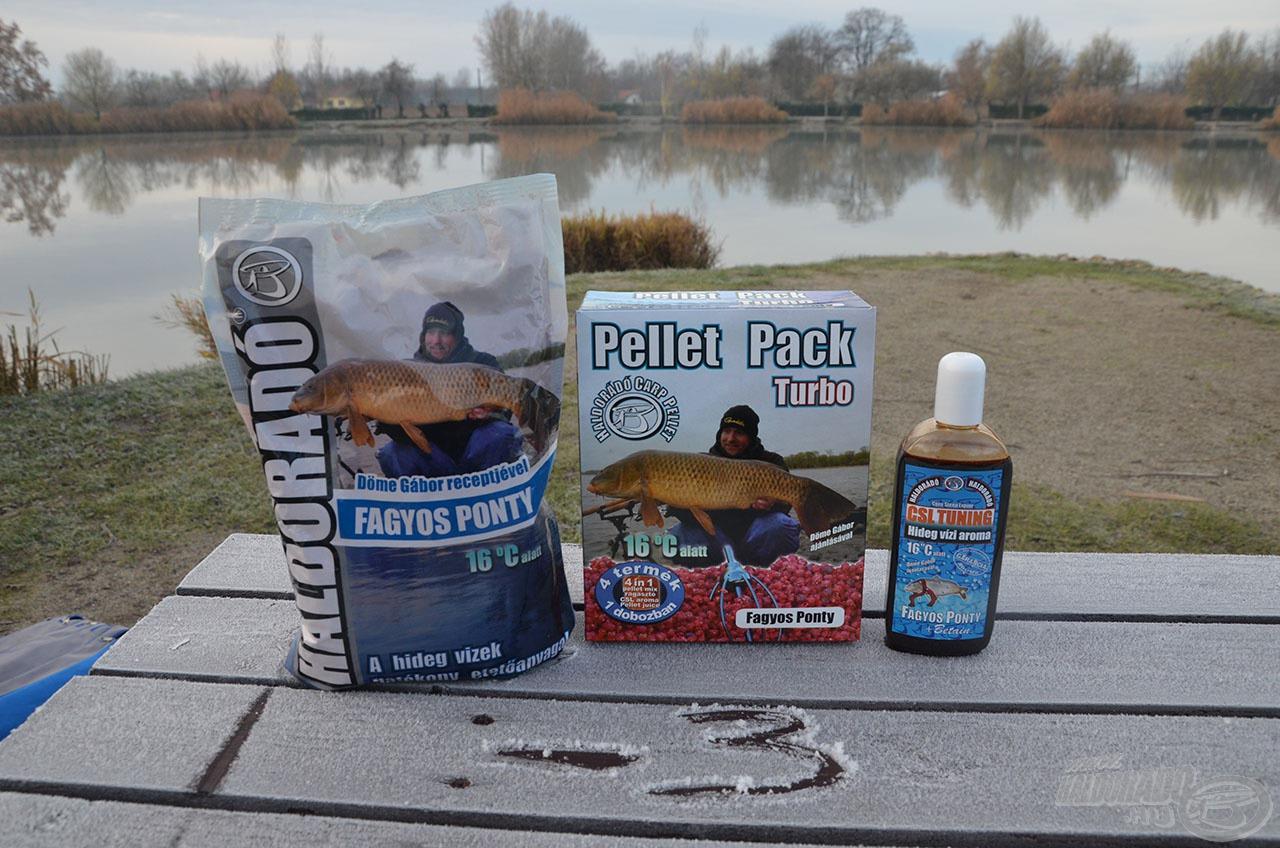 A Haldorádó Fagyos Ponty termékcsaládot a hideg vízi horgászatokhoz fejlesztettük. Ezekből használtunk 1-1 csomaggal a nap folyamán. A jóból nem kell sok! :)