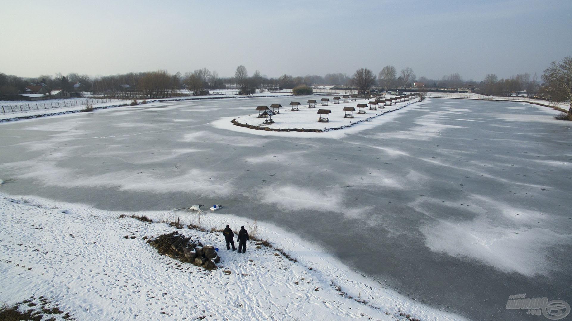 Téli horgászataim helyszíne a Kiskunhalasi Tóth-horgásztó volt