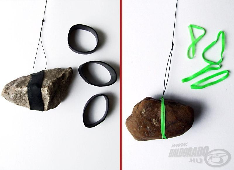 Akadós terepen olcsó és környezetbarát megoldásként a különféle gumigyűrűvel rögzített kövek is kiváló nehezékek lehetnek (de vigyázzunk, hogy ne terheljük túl botunkat!)