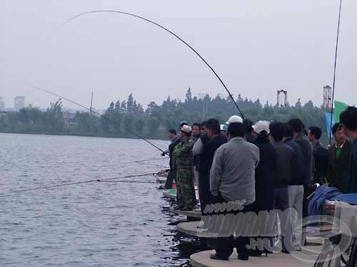Közben nem messze tőlünk az egyik helyi spori egy komolyabb halat akasztott