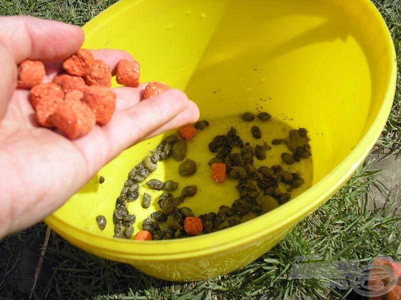 … majd ezt követően egy kevés Monster Crab pellet is került közéjük