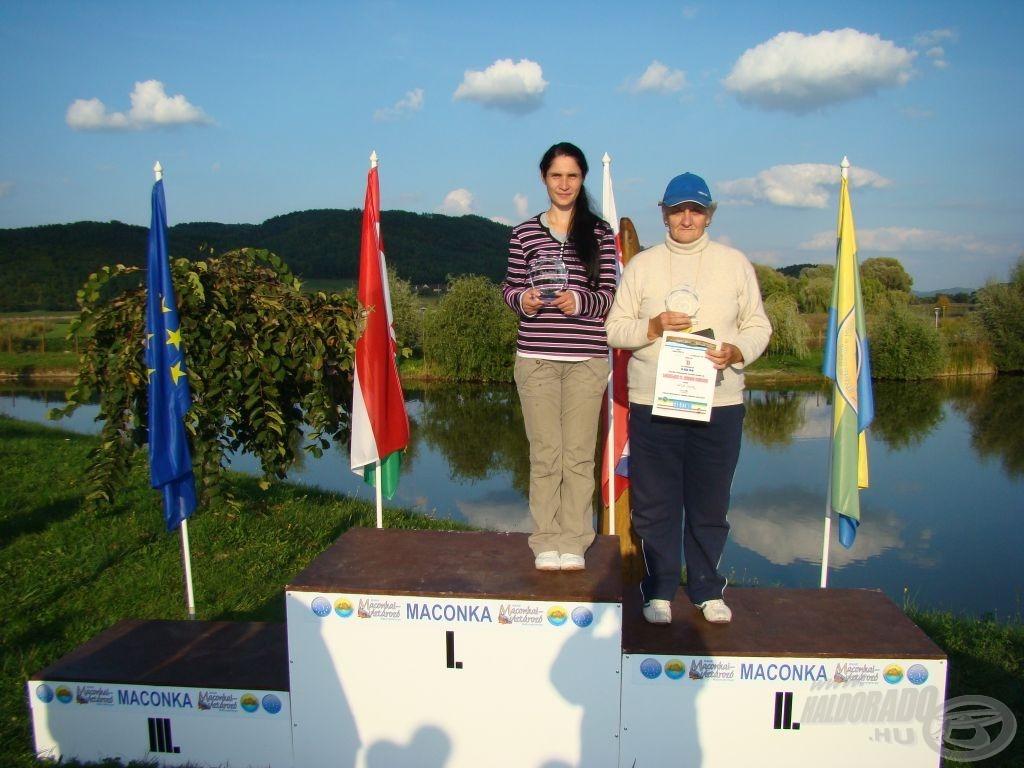 Horváth Zoltánné, MB \'13 női bajnok, mellette Papp Éva