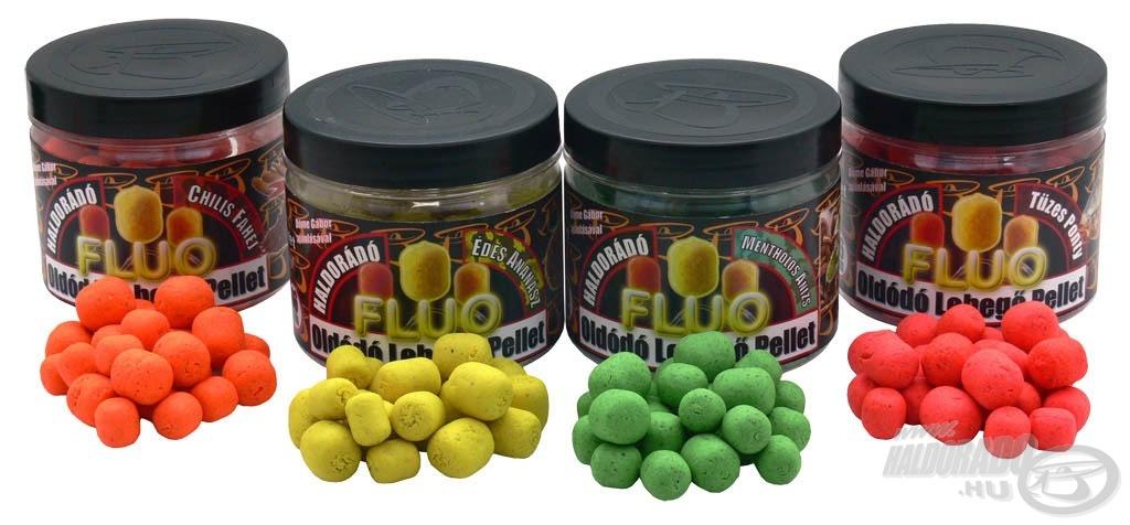 Fluo Oldódó Lebegő pelletek között is megtalálható a két kurrens íz