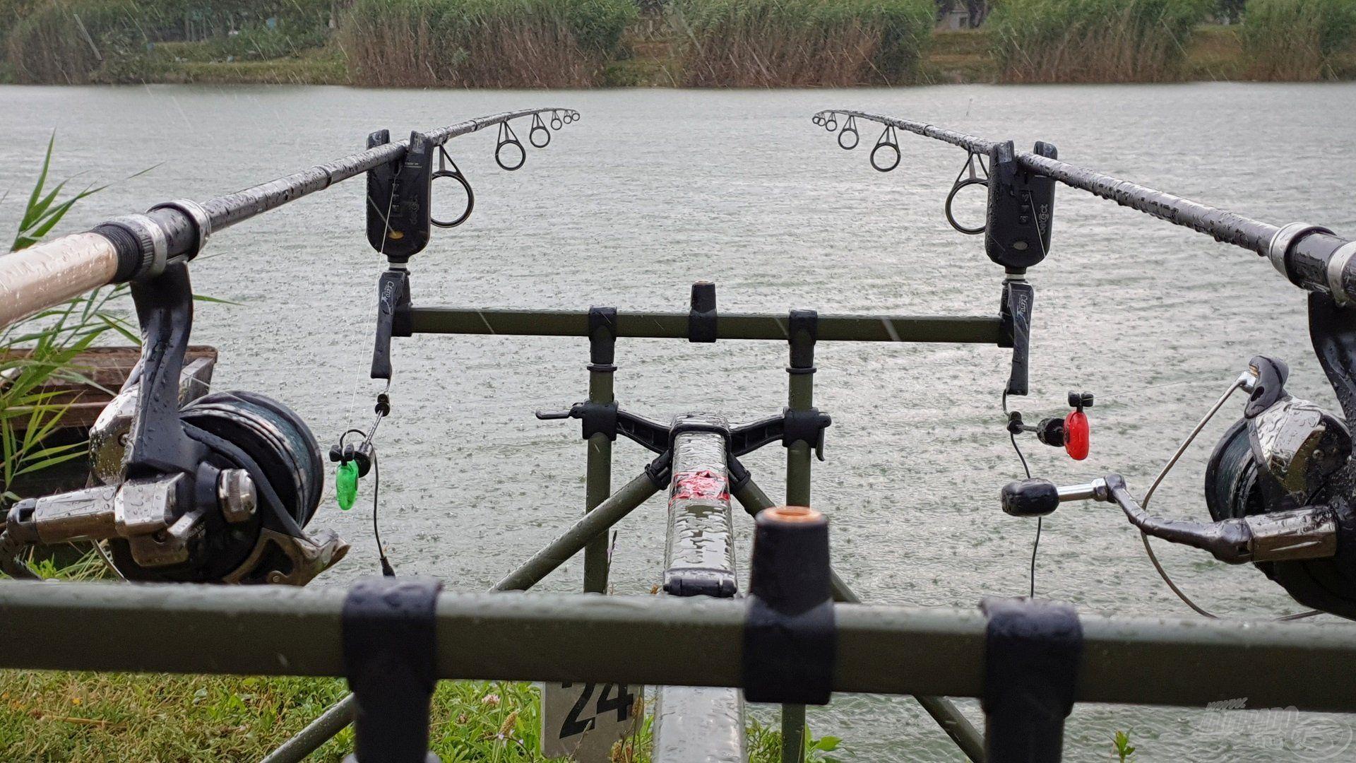 Az évszakhoz képest hűvös, változékony időjárás és az időnként szakadó eső sem tántorított el minket a horgászattól