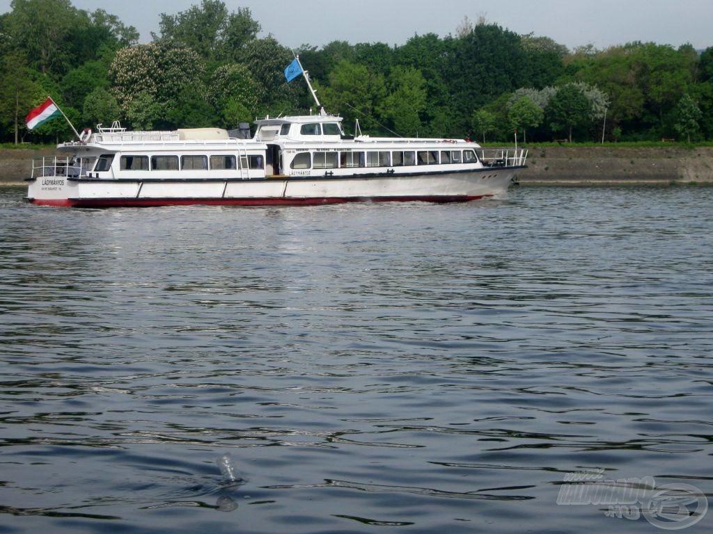 Előtérben a kenyérzsák bójája, háttérben a Lágymányos ringatózik a Duna kék vizén