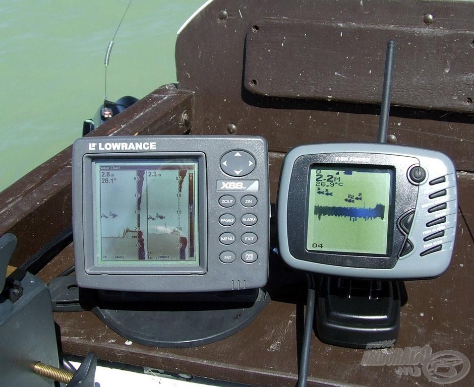 Teszt 2: ,mindkét készülék jól jelezte a kis medertörést és az előtte bandázó apró keszegeket