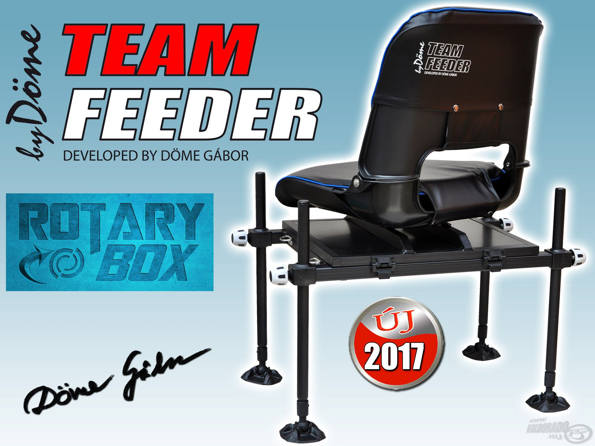 A By Döme TEAM FEEDER Rotary Box egy praktikus, erős horgászláda és egy esztétikus vízparti ülőke kombinációja