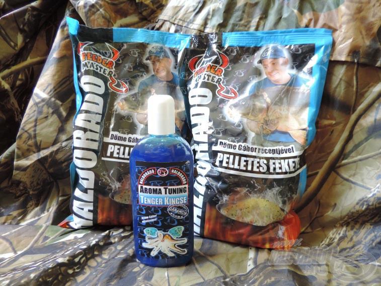 Etetőnek 2 csomag Pelletes Feketét és hozzá Tenger Kincse aromát vittem, ezt szántam a 35 g-os Pellet Feeder kosaraimba…