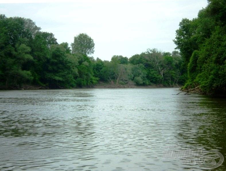 Ezen a helyen akasztottam a halat, és a túlparti ágas-bogas helyre menekült át