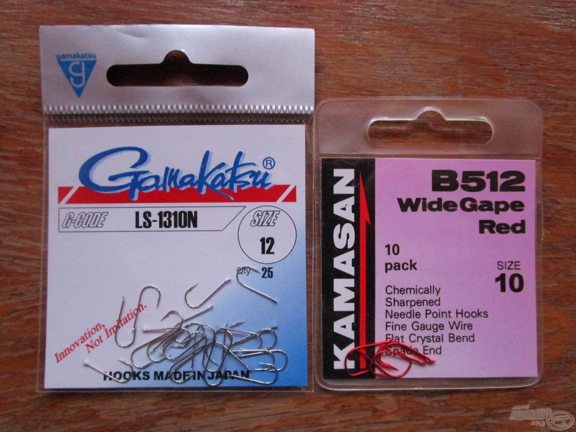 A Gamakatsu LS-1310N és a Kamasan B512 is kiváló keszegező horog