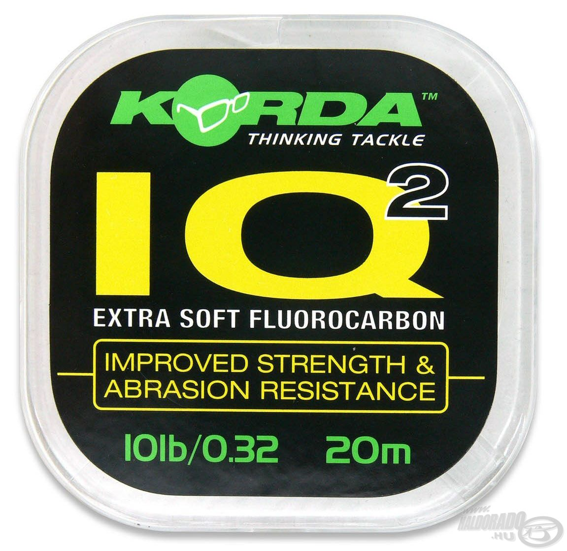 Az IQ egy fluorocarbon előkezsinór, anyagának a vízéhez hasonló a törésmutatója, ezért a vízben szinte láthatatlan
