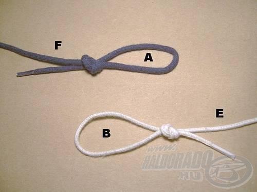 Kössünk végfület a főzsinór (F) és az előke (E) végére. Az egyes füleket (A) és (B)-vel jelöltem