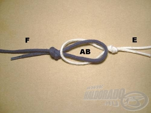 Az előke fülébe (B) vezessük bele a főzsinór fülét (A)