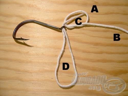 Bújtassuk át az (A) véget a (C) hurkon.