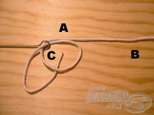 Bújtassuk át az (A) véget a (C)-n, az ábra szerint.