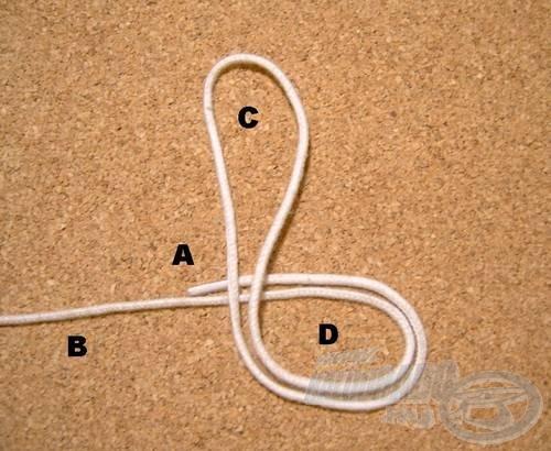 Az (A) és a (B) szálrészt összefogjuk és egyszer önmagán átvesszük, így két hurkot kapunk, a (C) és a (D)-t