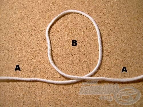 Vegyük át az (A) szálat önmagán, így megkapjuk a (B) hurkot