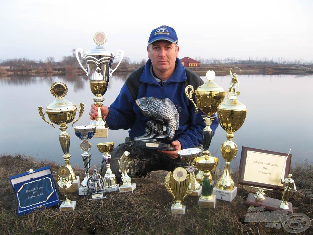 Sisa József már Haldorádó színekben versenyezte végig a 2011-es szezont, és mint a képen is látszik, nem is eredménytelenül