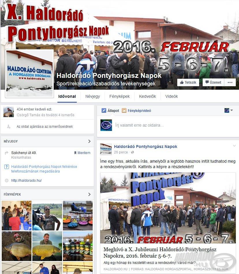 Kövessétek figyelemmel a Haldorádó Pontyhorgász Napok önálló Facebook-oldalát