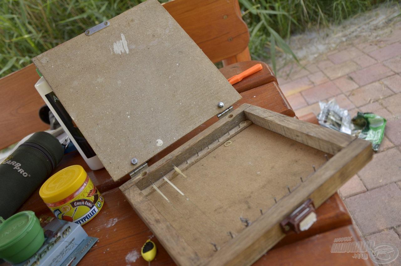 Egy házilag barkácsolt előketartó dobozban tartom az előkéimet