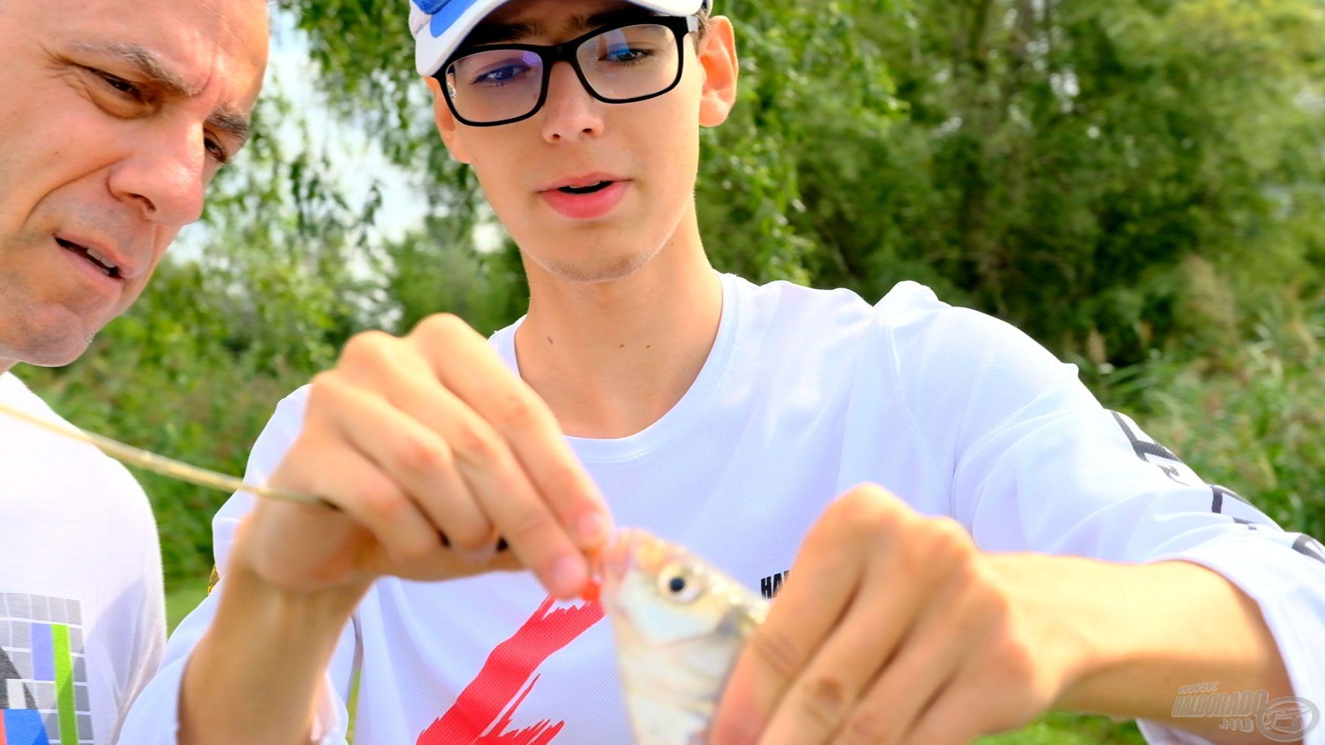 Az első hal egy kis keszeg volt