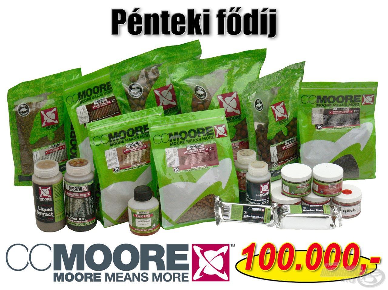 A tudáspróbával összekötött tombola fődíja a pénteki napon egy 100.000 Ft értékű CCMoore ajándékcsomag!
