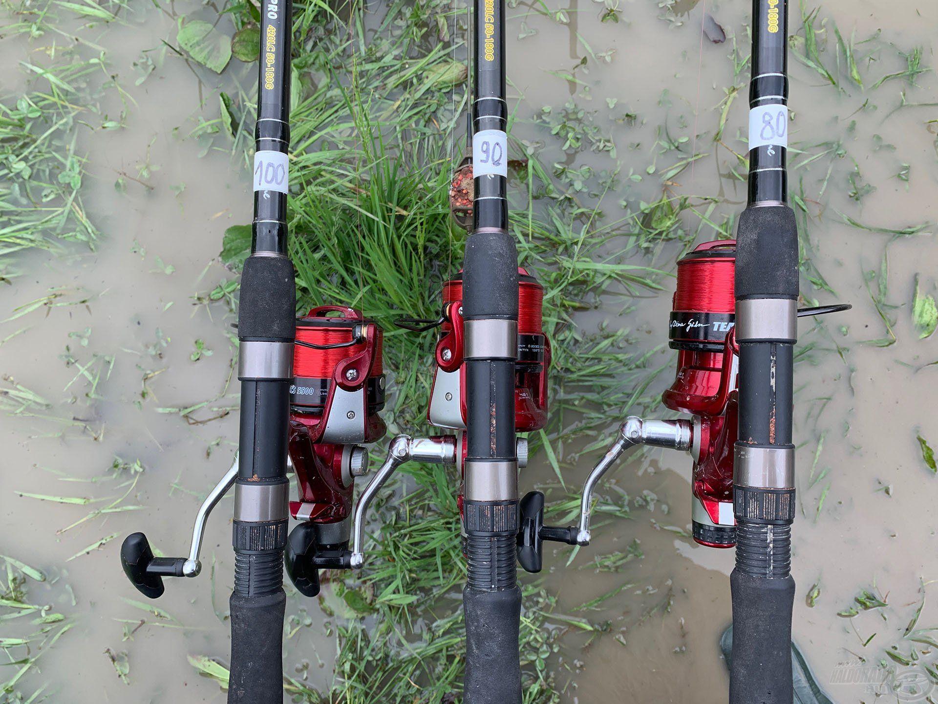 Három bottal készültem, amelyekkel három különböző – 80, 90 és 100 m-es – távolságban horgásztam
