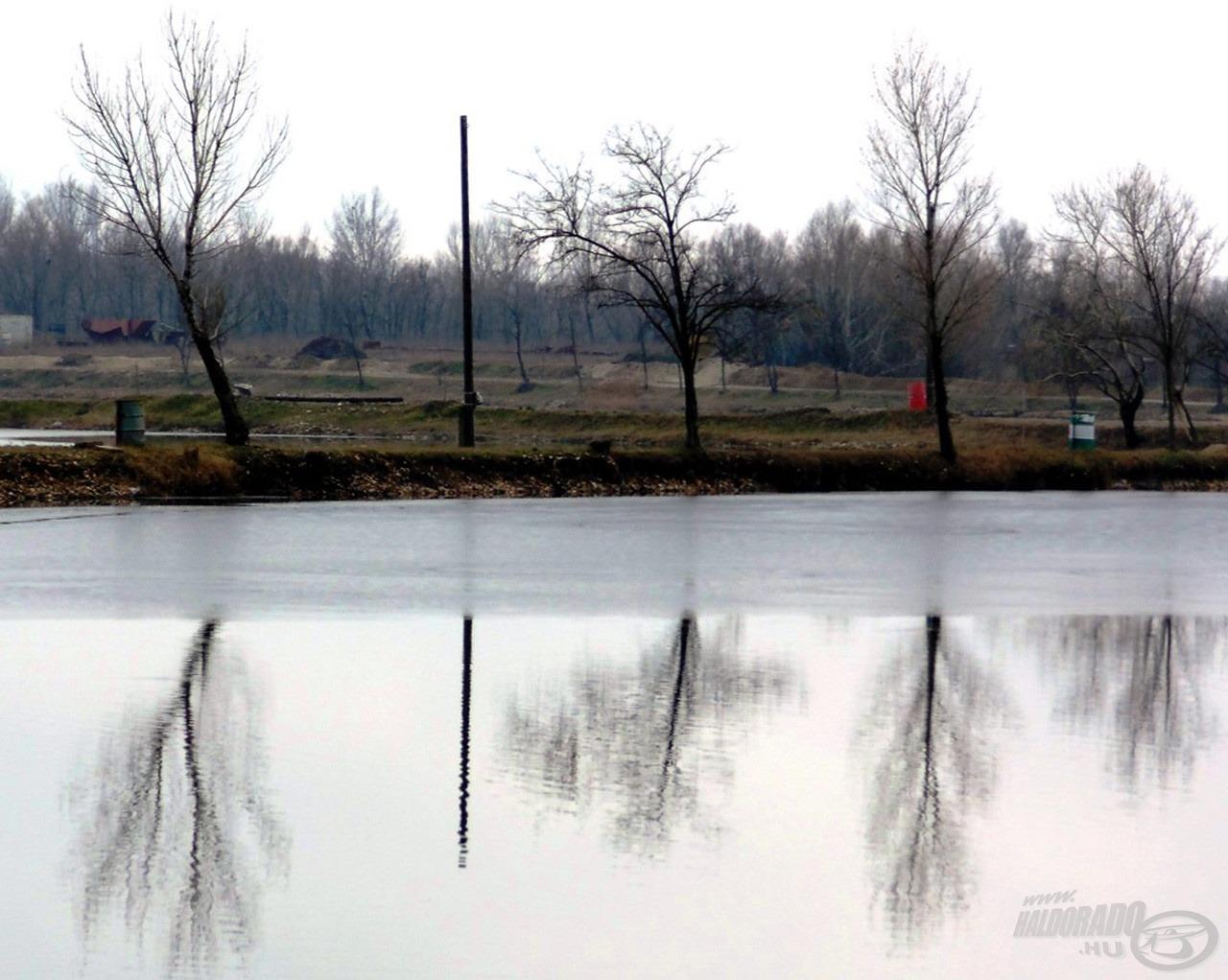 És íme, az indok, amiért nem vagyok szomorú, hogy csak apróságok jutottak aznap nekem: a tó hátsó része még jég alatt raboskodik, ahogy a többi víz is a környéken. Ezért is írtam az elején, hogy kész csoda, hogy egyáltalán horgászhattam aznap