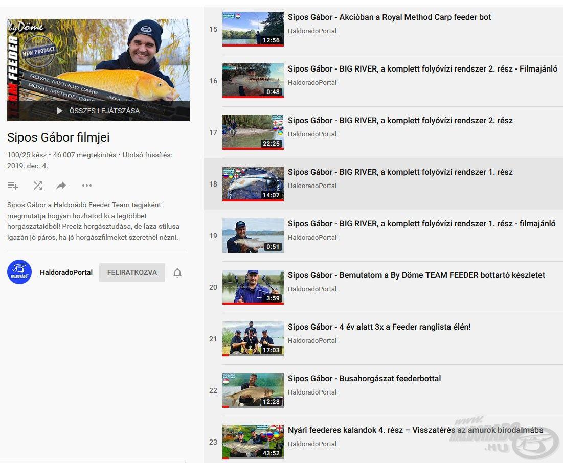 Számos írásom és filmem található a Haldorádó YouTube csatornáján