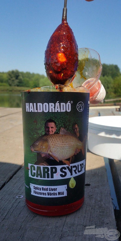 Hasznos praktika volt, amikor a megtöltött kosarat belemártottam a Fűszeres Vörös Máj Carp Syrup aromába, ezzel jellemzően rövidebb ideig kellett várnom a kapásokra