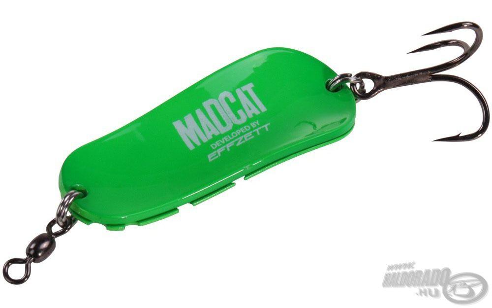 A Mad Cat Twin Turbine Spoon alakját tekintve széles, finoman S alakban meghajlított, speciálisan domborított kanál, amelynek tekintélyes, 85 gramm a súlya