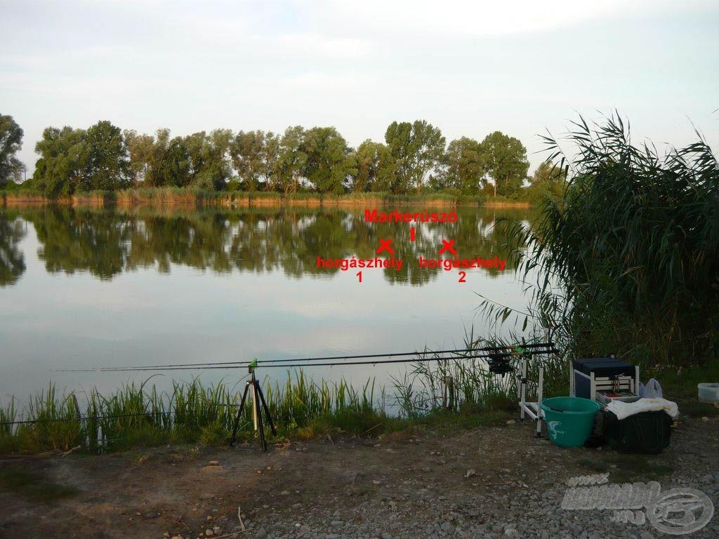A kiválasztott horgászhely. A markerúszó volt a célpont, tőle jobbra és balra találhatóak a horgászhelyek, a 2-es számú hely adta a több és a nagyobb pontyot
