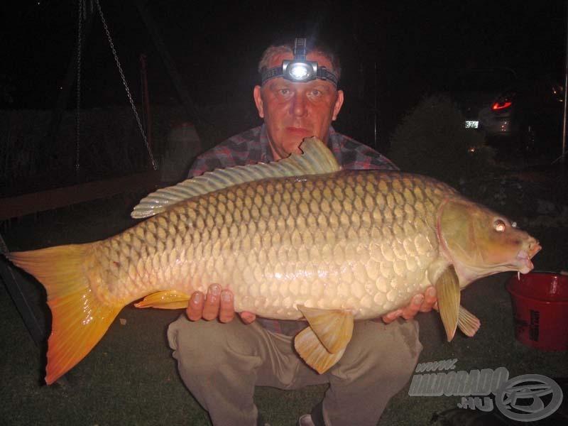 Péter első hala 13,1 kg-os gyönyörű ponty