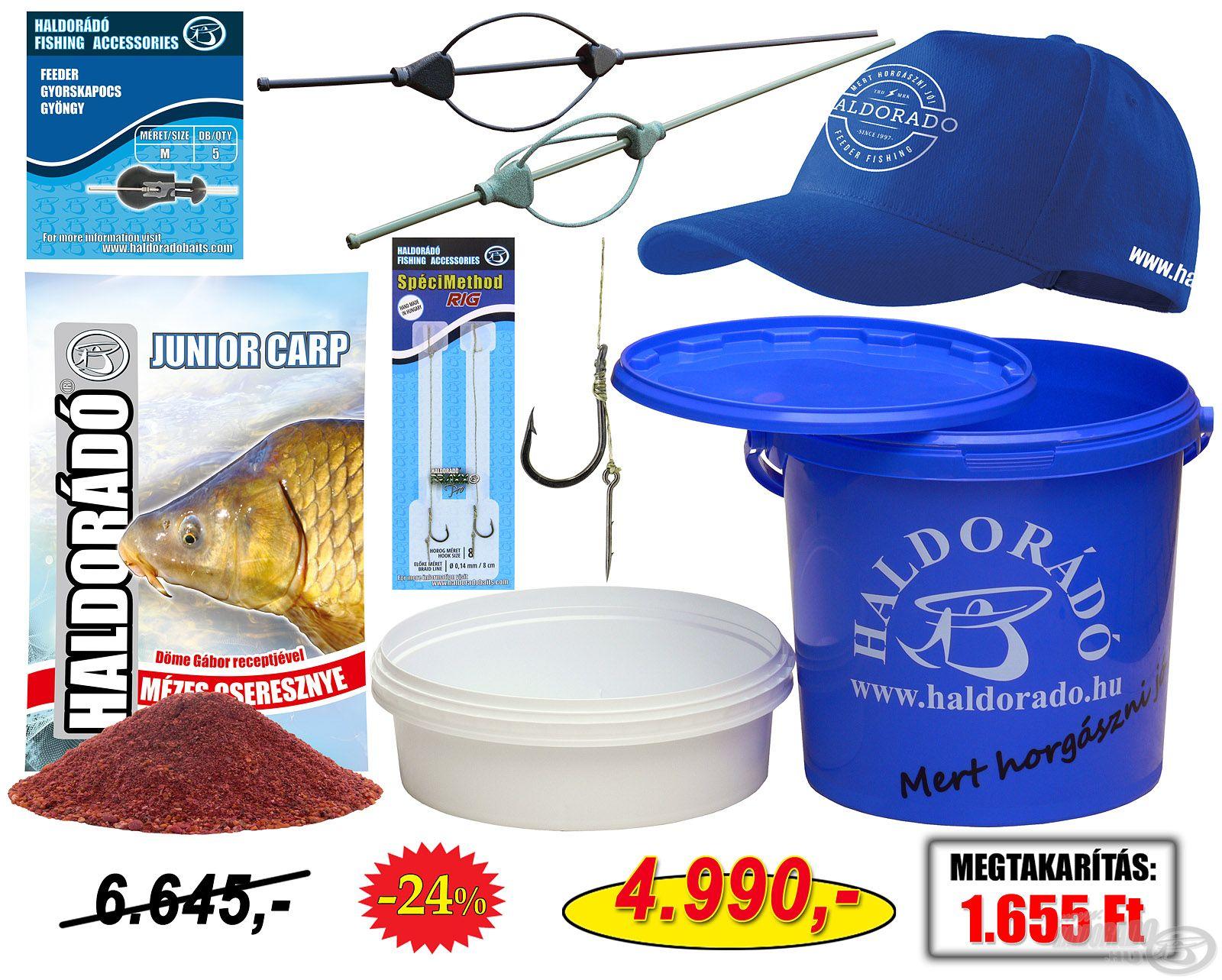 Haldorádó Gyermekhorgász ajándékcsomag, amiben az ifjú horgászpalánták egy komplett pontyos végszerelék minden elemét megtalálhatják