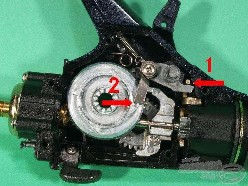 A kallantyú előretolásával élesítjük be a nyeletőféket. Ilyenkor két dolog történik az orsó gyomrában. Egyrészt kiemeljük a blokkoló reteszt (1), ezzel működésbe lép a nyeletőfék, másrészt a visszaváltást végző kar (2) is készenléti helyzetbe áll. A hajtókart megtekerve a tányérkerék oldalán lévő négy bütyök valamelyike 1/4 fordulaton belül visszalöki alapállásba a váltó szerkezetet