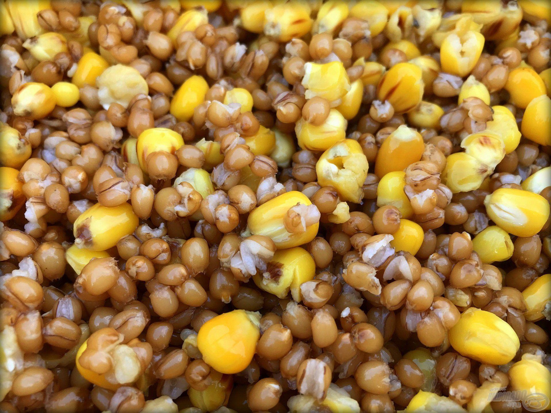 Főtt kukorica és búza alkotja a keverék nagy részét