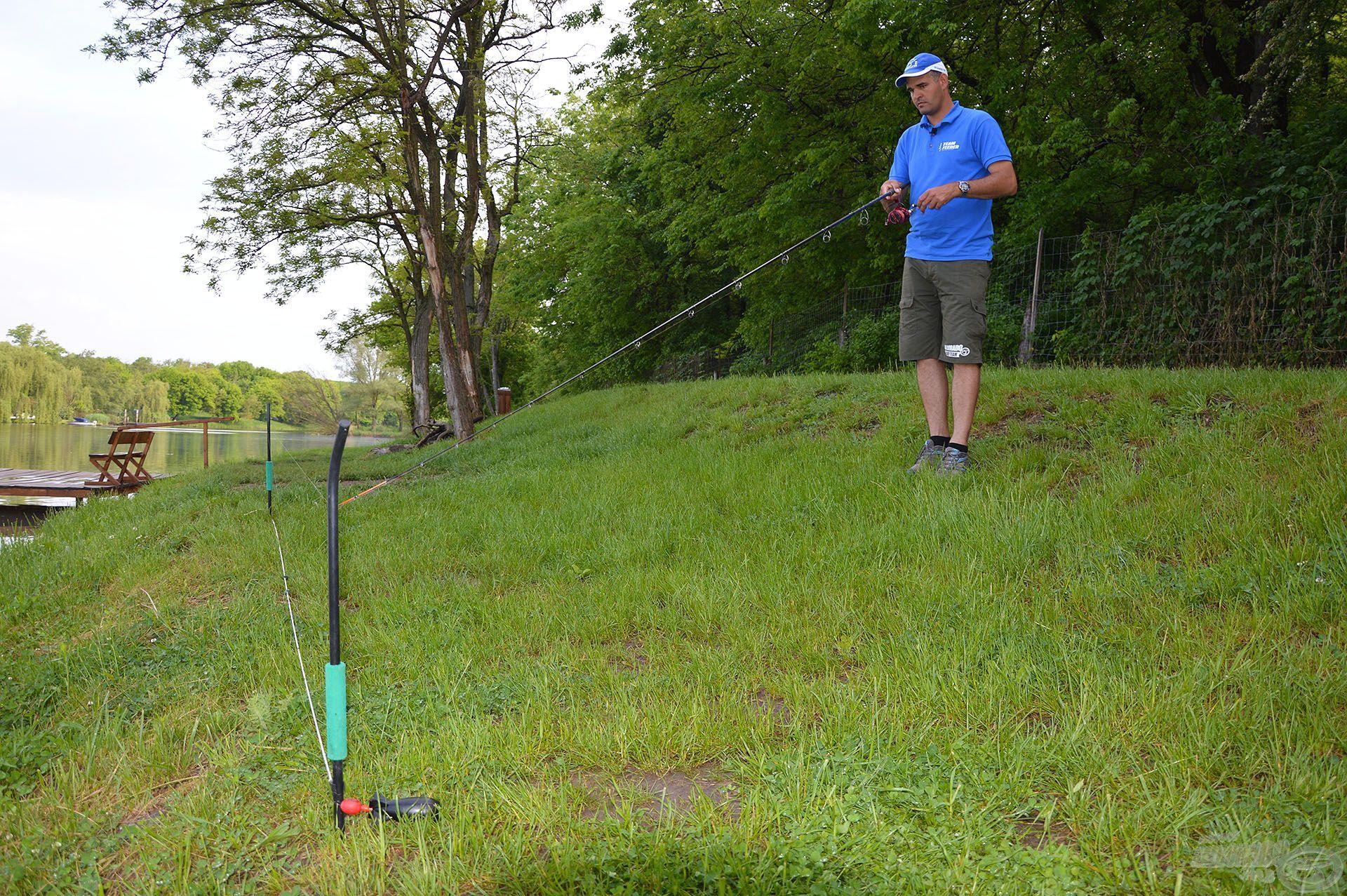 Két rúd segítségével precízen kimértük az megetetett és később meghorgászott 80 méteres távolságot