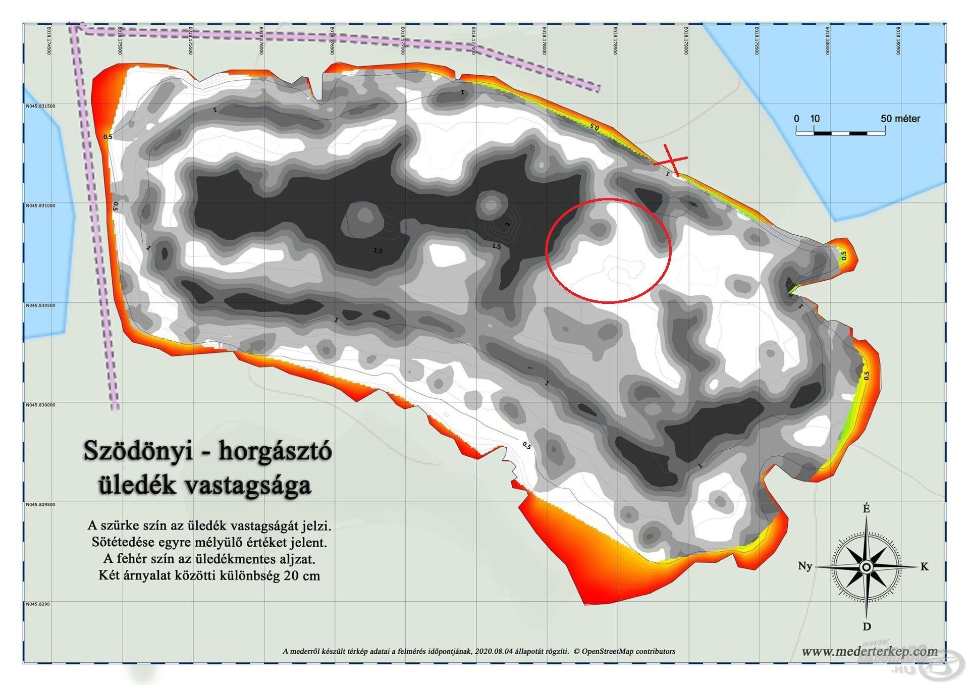 A tó üledékvastagságáról készített mederfenék-térkép is jól mutatja, hogy a lehető legjobb helyre ültem le