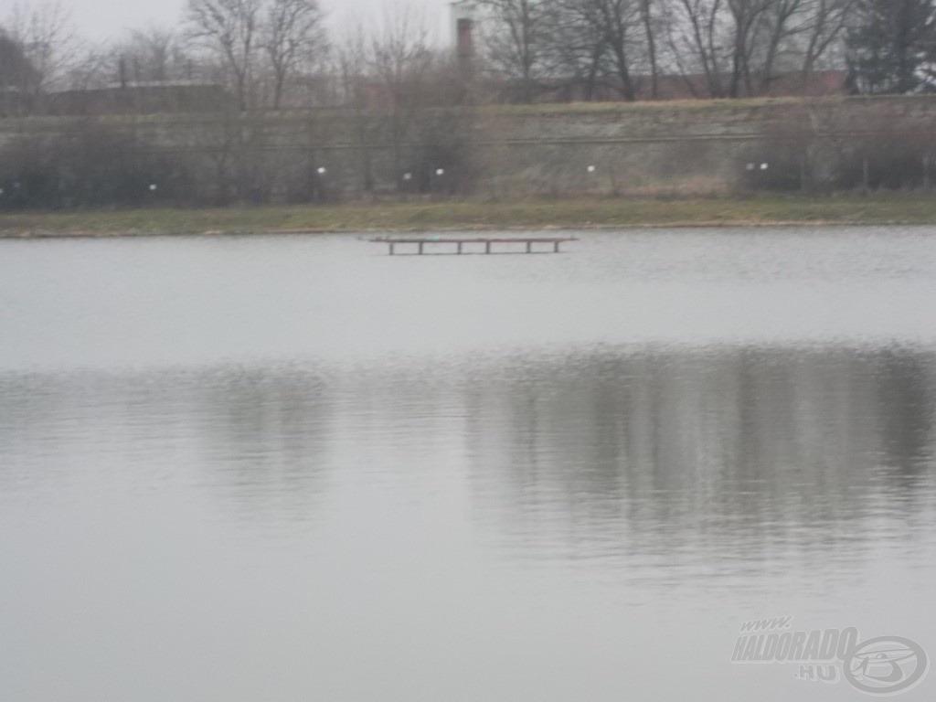 Hatalmas, gyakorlatilag akadómentes vízfelület terül el az ember előtt erről a horgászhelyről szétnézve. A végszerelékeimet a nap folyamán a stég jobb, illetve bal oldalához dobtam