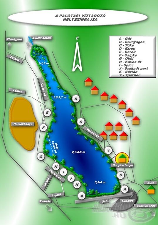 A Palotási víztározó helyszínrajza