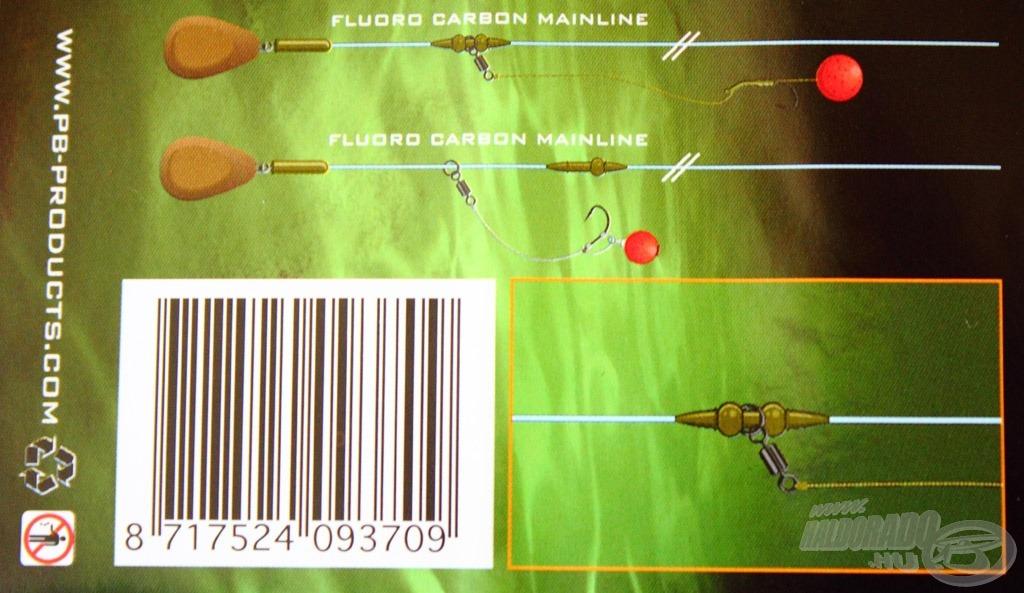 A csomagoláson két felhasználási módot is bemutatnak, mindkettő fluoro carbon előtétzsinórra van szerelve, de mivel kifejezetten vékony méretű, fel lehet tenni a PB újdonságára is a Silk Ray ólom nélküli süllyedő előtétzsinórjára is